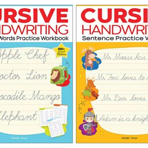 Cursive Handwriting – Everyday Letters and Sentences : Level 2 Practice Workbooks For Children (Set